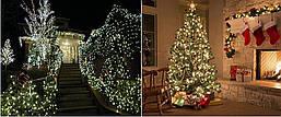 Новорічна гірлянда 500 LED, IP44, Довжина 38 М, Білий теплий світлий світ, фото 3