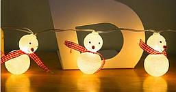 """Новорічна гірлянда """"Сніговики"""" 10 LED, Довжина 2M, фото 3"""