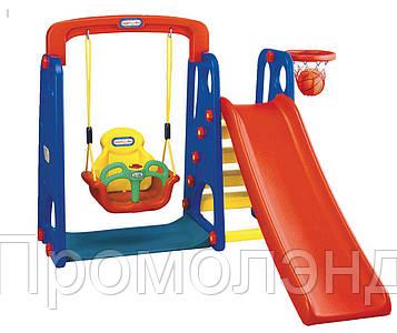 Игровой комплекс горка, качели, корзина для баскетбола