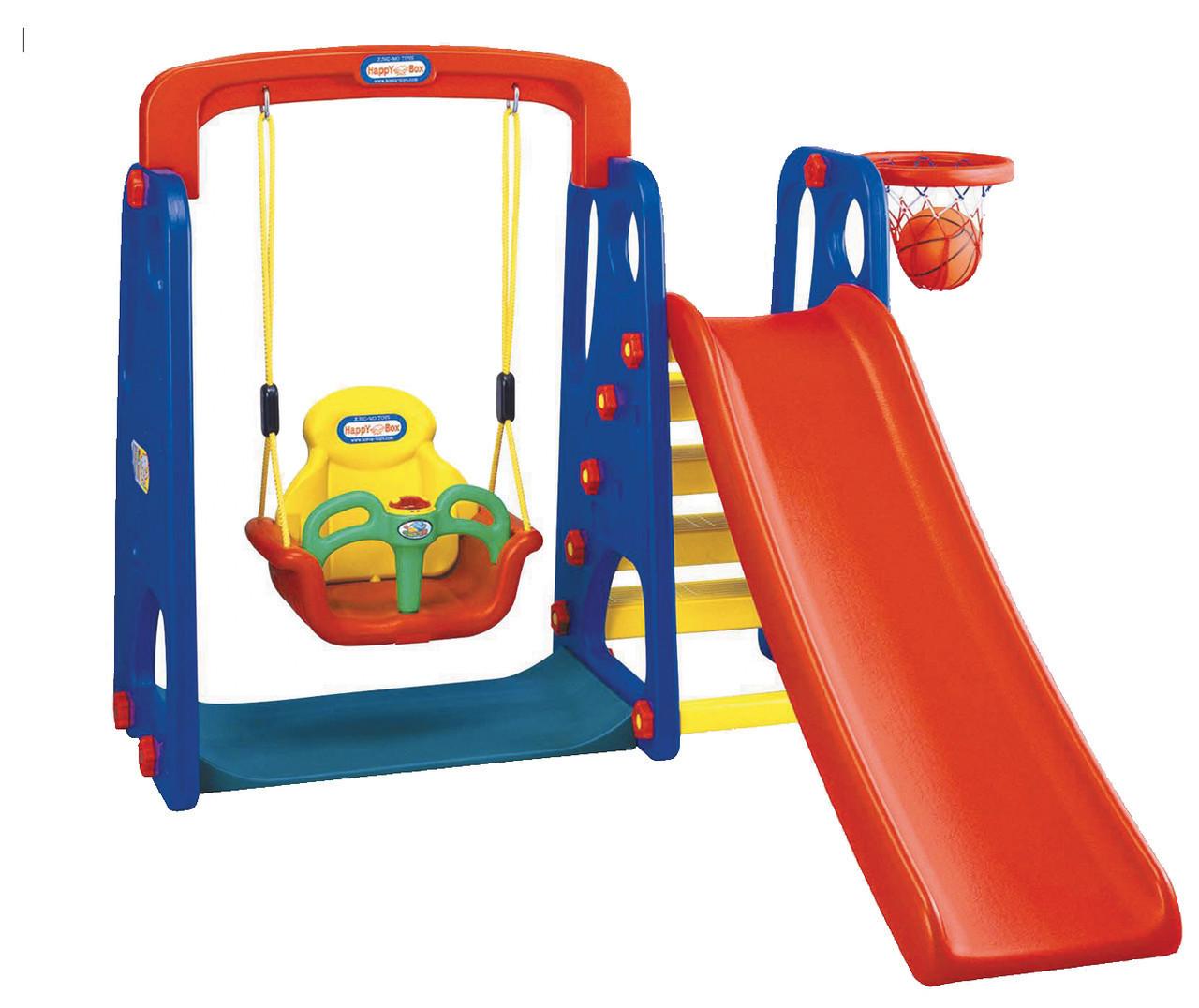Ігровий комплекс гірка, гойдалки, кошик для баскетболу