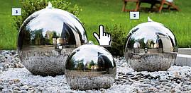 Декоративный фонтан Светодиодный шарик из нержавеющей стали 30см, фото 3