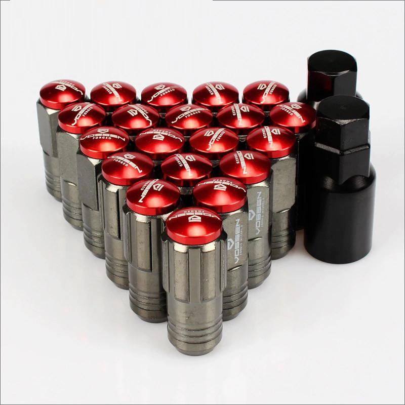Гайки M12 * 1,5, конус, ключ 19, довжина 53 мм, тіло хром + кришка червона, Vossen M13-2A, (комплект)