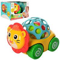 Оригинальная яркая качественная игрушка детская погремушка на колесах «Львенок», красочная игрушка для малышей