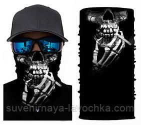 Мото баф Smoking skull. Якісна маска на обличчя