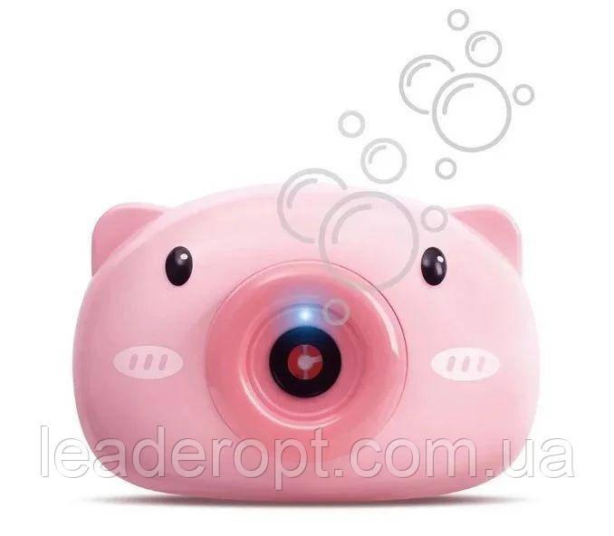ОПТ Детский генератор для мыльных пузырей фотоаппарат BUBBLE CAMERA розовая свинка