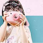 ОПТ Детский генератор для мыльных пузырей фотоаппарат BUBBLE CAMERA розовая свинка, фото 5