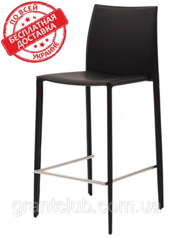 Полубарный стул GRAND черный кожа (бесплатная доставка)