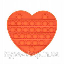 Сенсорна іграшка Pop It антистрес, сердечко помаранчева