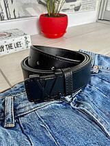 Кожный ремень Style 3,7 см черный с черной пряжкой РЕМ11, фото 2
