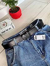 Кожный ремень Style 3,7 см черный с черной пряжкой РЕМ11, фото 3