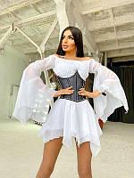 Шифоновое платье асимметричного кроя с расклешенными рукавами + корсет декорированный стразами, разные цвета