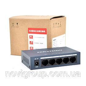Комутатор Hikvision DS-3E0105-E 5 портів Ethernet 10/100 Мбіт /сек, блок живлення 5V 0,6 A в комплекті, корпус