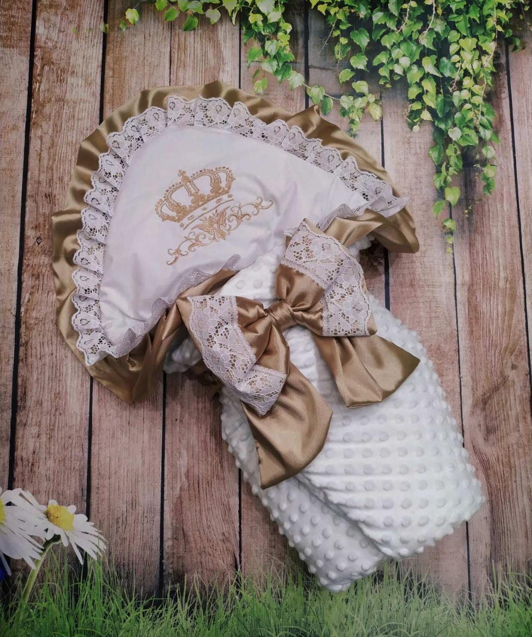 Конверт для новонароджених з вишивкою Корони