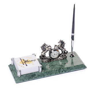 Підставка настільна для ручки з годинником і фіксатором паперів мармурова 24х10 см BST 540051