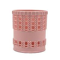 Стакан для канцелярии пластик розовый