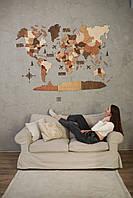 Оригинальный подарок боссу шефу начальнику Карта мира на стену из дерева со странами и столицами 3д