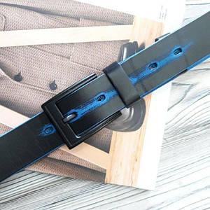 Мужской классический кожаный ремень Черный с синим