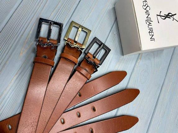 Женский кожаный ремень Ив Сен Лоран реплика Коричневый, фото 2