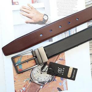 Мужской классический двусторонний кожаный ремень Alon Черно-коричневый