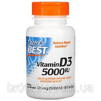 Doctor's Best, Витамин D3, 125 мкг (5000 МЕ), холекальциферол, 180 мягких таблеток