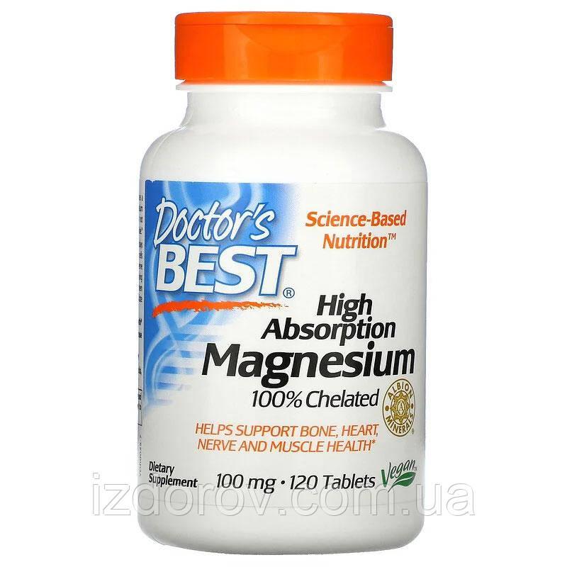 Doctor's Best, Магний с высокой степенью всасывания, для здоровья сердца и нервной системы, 120 таблеток