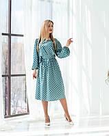 """Модное платье """"354"""", горох бирюза. Размеры 48,52."""