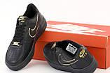 Кросівки жіночі Nike Air Force 1 Low Black Gold в стилі найк форси Чорні (Репліка ААА+), фото 7