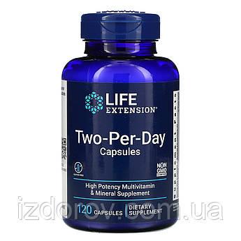 Life Extension, Two-per-Day, Двічі в день, мультивітамінний комплекс 120 капсул