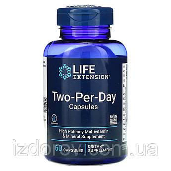Life Extension, Мультивітаміни Two-Per-Day для приймання двох капсул на день, 60 капсул. США