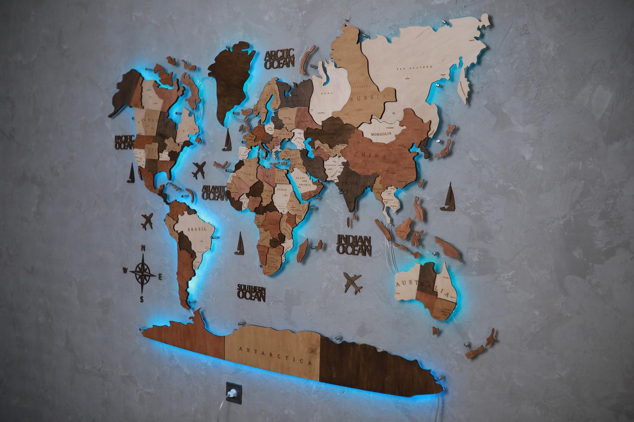 Деревянная карта мира на стену CraftBoxUA с led подсветкой