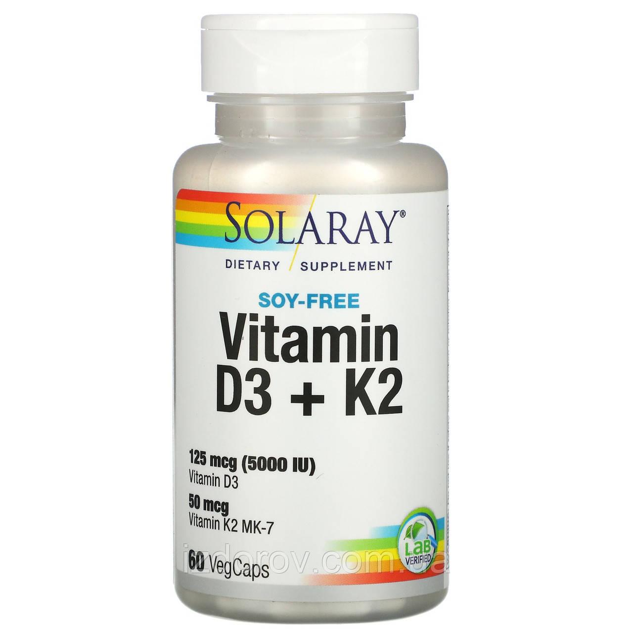 Solaray, Вітамін D3 + K2 (холекальциферол і менахінон) для кісток, зв'язок і суглобів, 60 капсул. США