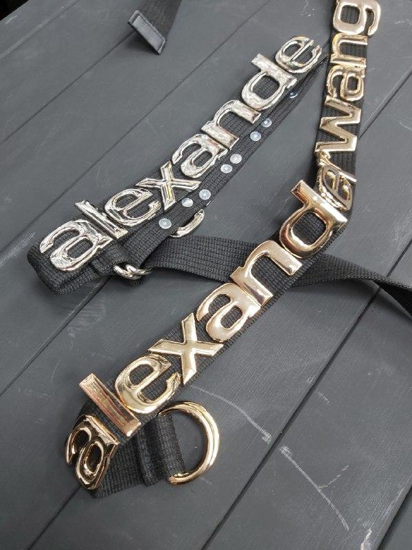Женский  кожаный ремень Александр Вонг Черный с золотым лого