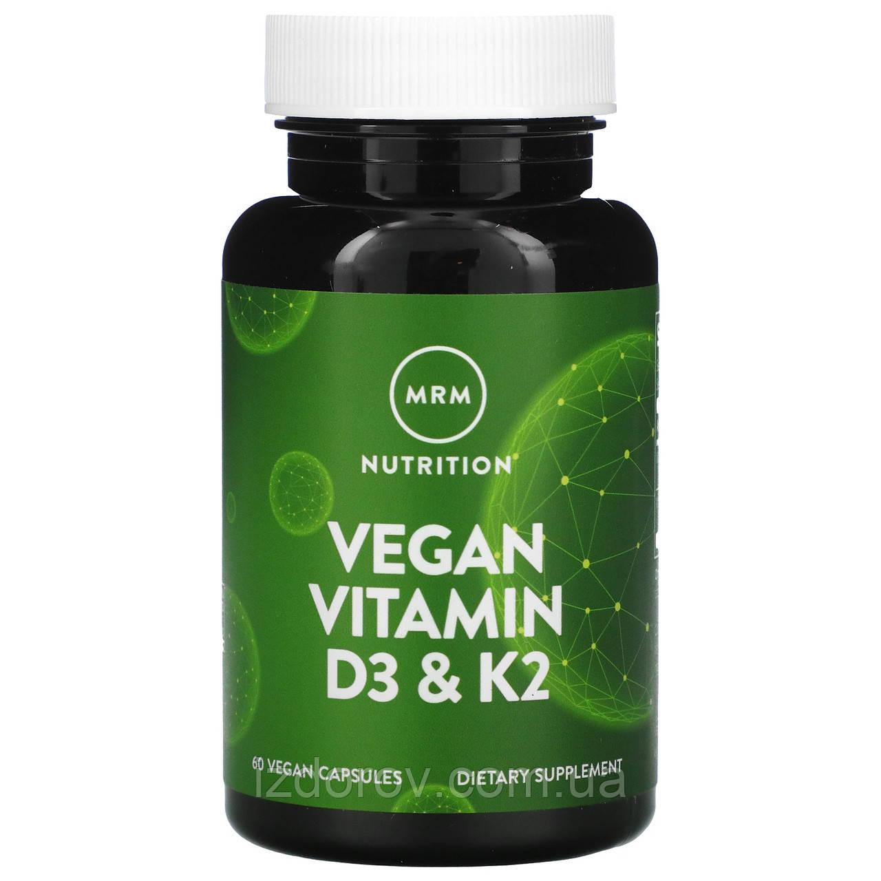 MRM, Веганские витамины D3 и К2, 62,5 мкг (2500 МЕ), 60 веганских капсул