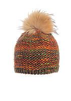 Модная теплая вязаная женская шапка с меховым бумбоном.