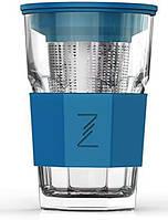 Стакан-заварник ZestGlass Original 415мл с металлическим ситечком и силиконовой защитой (синий)
