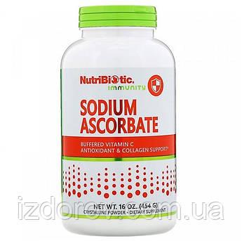 NutriBiotic, Аскорбат натрия, Буферизованный содой витамин C, Sodium Ascorbate, кристаллический порошок, 454 г