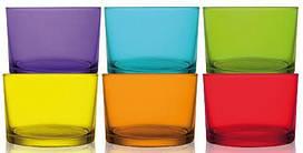 Набір 6 склянок LAV Веселка 240мл, кольорове скло