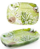 """Набір 6 скляних тарілок """"Конвалії"""" 30х21см, прямокутні тарілки"""