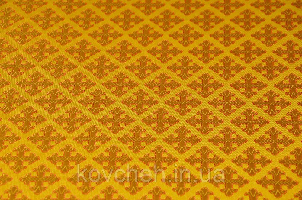 Шелковая церковная ткань Крест полиставрий желтый контур красный