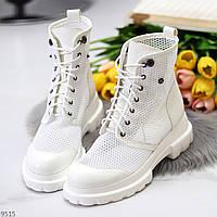 Крутые модельные белые летние женские ботинки мартинсы весна-лето 2021 (обувь женская)