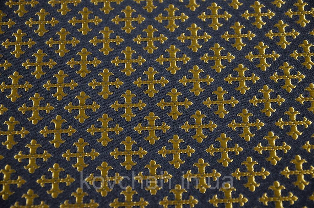 Шелковая церковная ткань Крест полиставрий черный с золотом