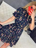Женское платье в цветочек Синее, фото 1