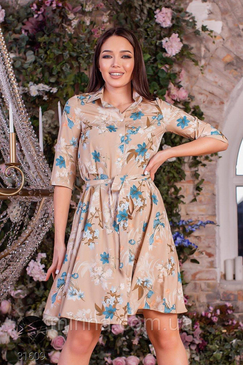 Сукня-сорочка з принтом, софт, р.від 40 до 46, беж