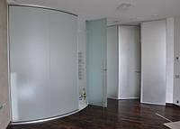 Стеклянная радиусная перегородка. Фурнитура Metalglas (Италия).