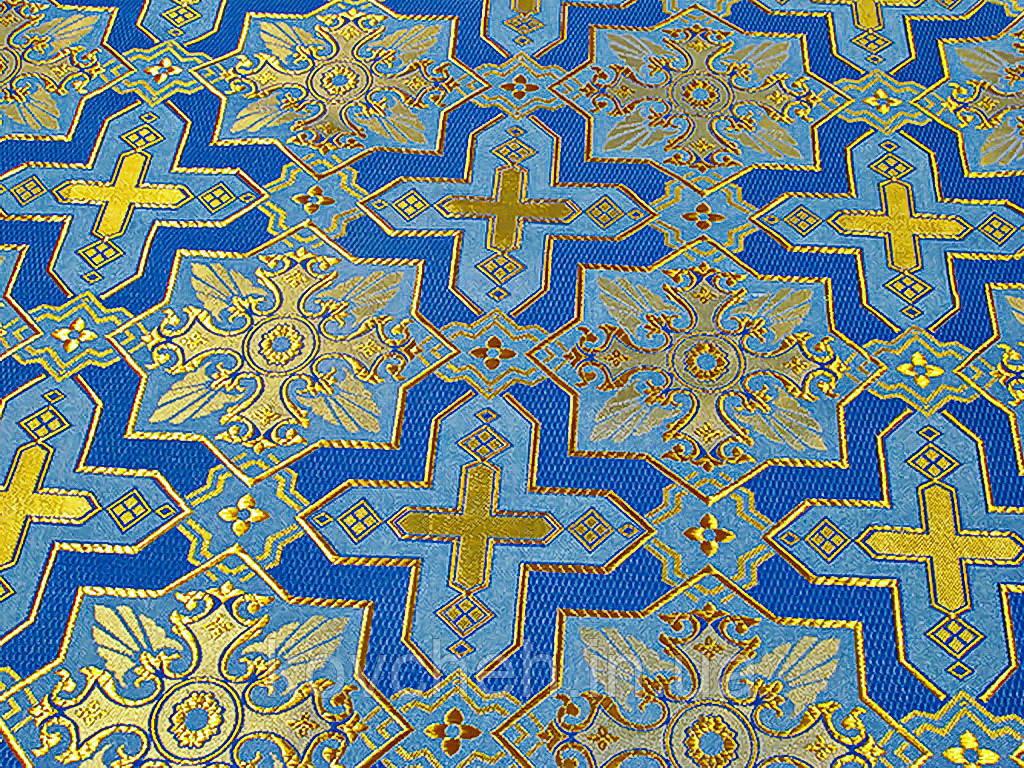 Шовкова церковна тканина року кустодія велика синя з золотом