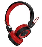 Беспроводные Bluetooth наушники красно-черного цвета со стерео звуком микрофоном AUX студийные Celebrat A4.