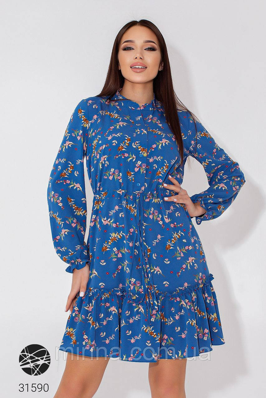 Сукня-сорочка з квітковим принтом софт, р. 42-46, синій, бірюза, рожевий
