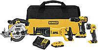 Комбінований комплект DEWALT 20V MAX, компактний 4-інструмента (DCK423D2)+зарядне і два акамулятора!