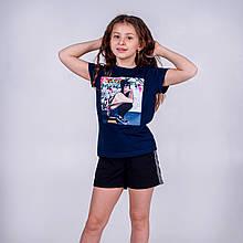 Футболка для девочки с модным принтом SmileTime Free Girl, темно-синяя