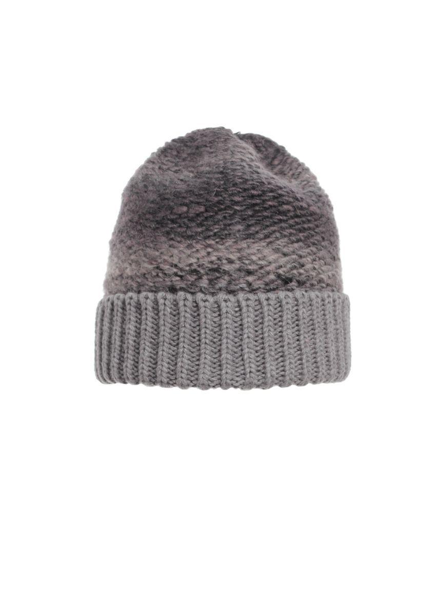 Теплая и практичная вязаная шапка с отворотом, серая.
